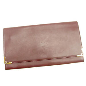 Cartier-Clutch-bag-Mastline-Red-Gold-Woman-unisex-Authentic-Used-Y7398