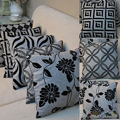 Casual Black Flower Throw Pillow Case Home Sofa Decor Linen Square Cushion Cover