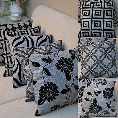 Retro Black Grey Flower Grid Throw Pillow Case Sofa Home Decor Cushion Cover