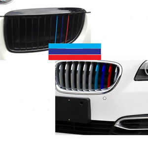 Pc M Colored Kidney Grille Stripe Decal Sticker Fit BMW M M M - Bmw m colored kidney grille stripe decals