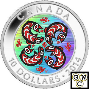 2014-039-Salmon-First-Nations-Art-039-Proof-10-Silver-Coin-9999-Fine-13991