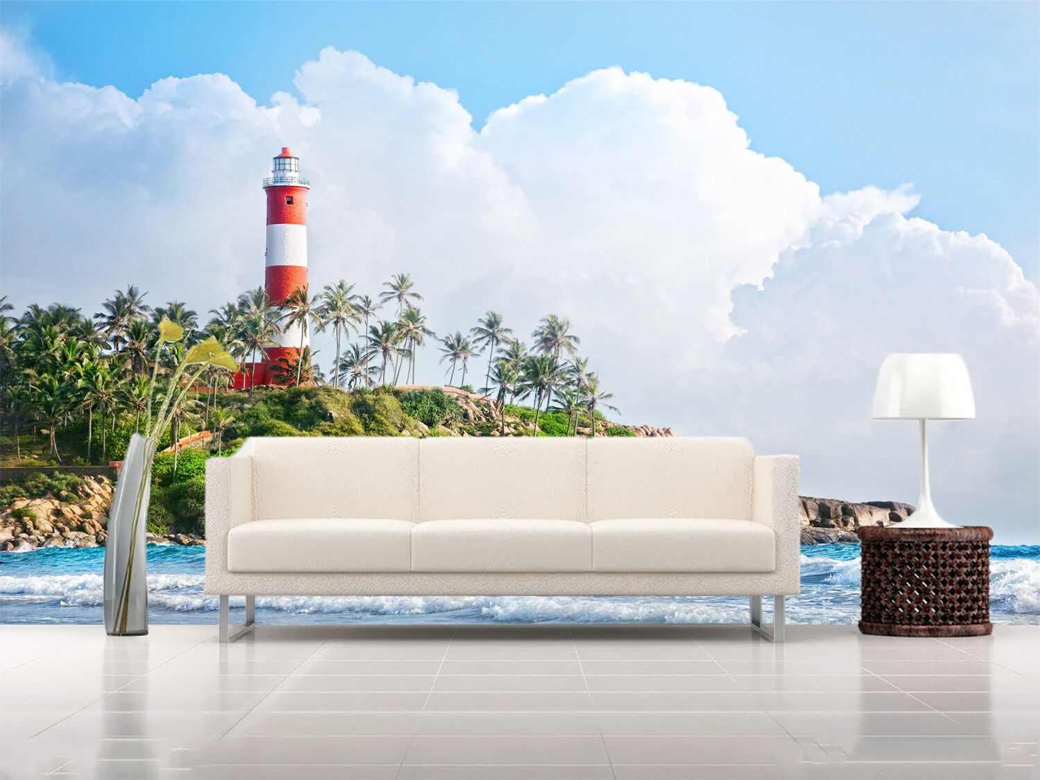 3D Sea, tower 2188 Wall Paper Print Wall Decal Deco Indoor Wall Murals