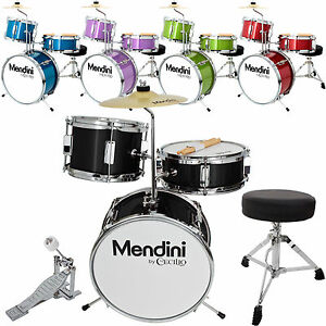 Mendini 13 3 Pieces Junior Kids Child Drum Set Kit Black Blue