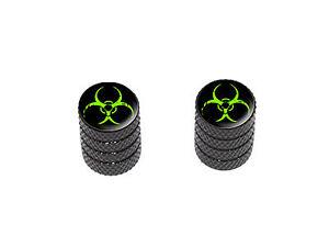 Zombie-Green-Biohazard-Motorcycle-Bike-Valve-Stem-Caps-Black