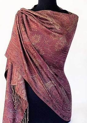 Fuschia & Purple Paisley Shawl Iridescent Silk  Jamavar Wrap. Reversible Stole