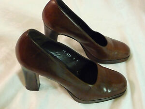 1894895d0314 Image is loading EUC-Vintage-90s-DKNY-Medium-Brown-Platform-High-