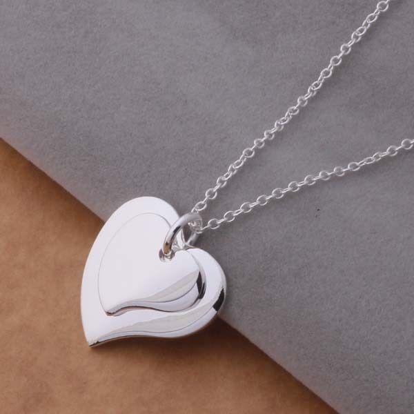 Fashion wedding 925 Sterling Silver Charm Heart Beautiful women Necklace P108