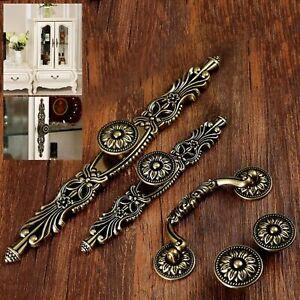6Pcs Vintage Brass Door Knob Kitchen Box Drawer Cabinet Cupboard  Pull Handle HQ