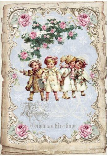 Decoupage-Bastelpapier-Softpapier-Vintage-Shabby-Weihnachten-Kinder-12598