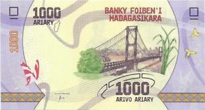 MADAGASCAR 1000 Ariary 🌎💷 UNC; P-100; 2017 💷🌎 Polymer 🦋Butterflies; Bridge