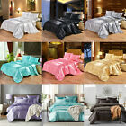 Ice Silk Satin King Queen Twin 1800 Count Quilt Cover Set Fitted Bed Sheet Set