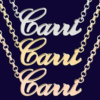 Personalized Necklace Name 11 Letters 925 Sterling Silver Carrie Style Nameplate