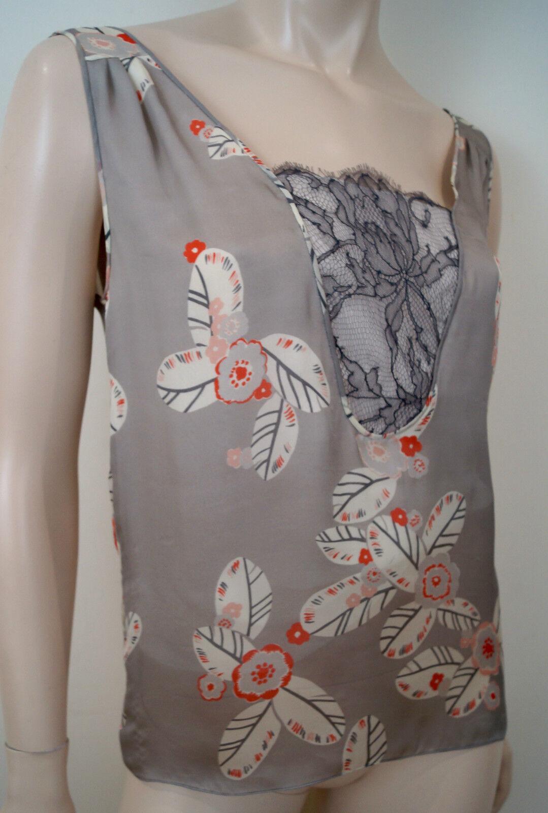 NINA RICCI grau Silk Cream & rot Floral Print Lace Insert Sleeveless Top UK10