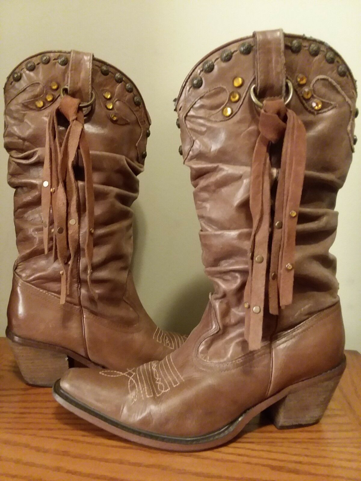 STEVE MADDEN Brown Rust SHYANN Cowgirl Cowboy Leather Western Boots 7 Slouch