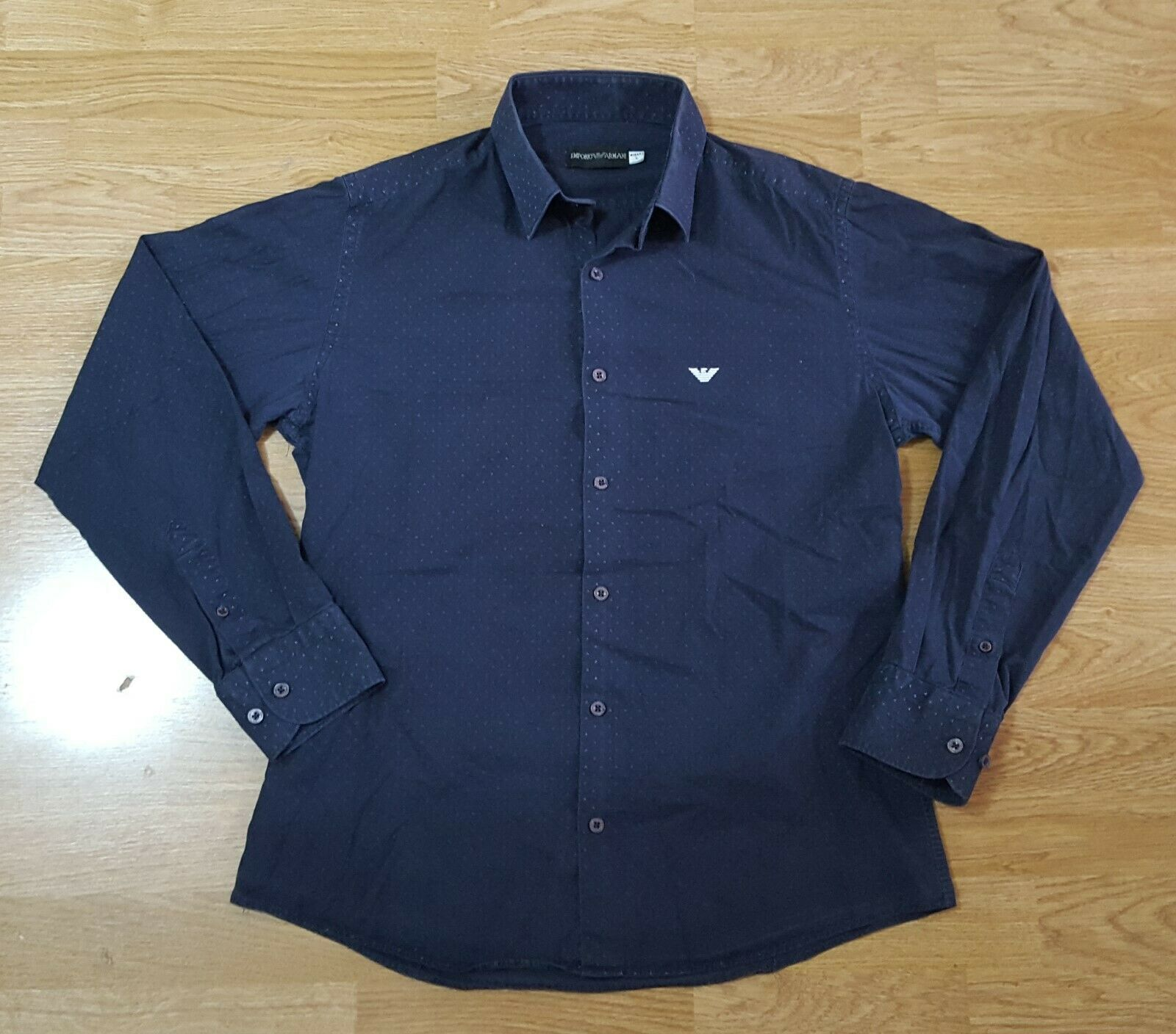 ARMANI EMPORIO Shirt Button Front Long Sleeve Top Mens Navy 15.5  Size L