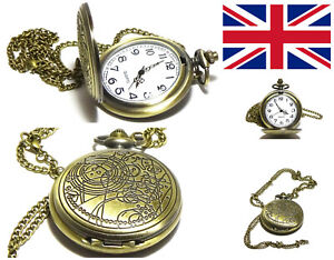 Dr-Doctor-Who-Pocket-Watch-Formal-Gents-Kids-Chain-Working-Gift-Bag-Dress-UK