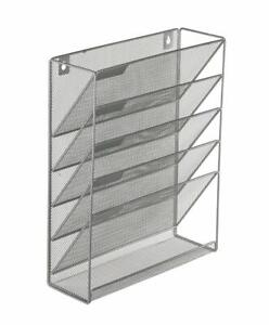 Details About 6 Tier Wall Mount File Holder Organizer Hanging Magazine Rack Silver