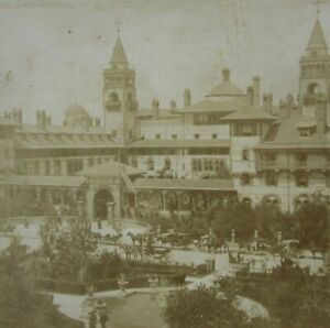 Antique-Photo-St-Augustine-FL-Ponce-de-Leon-Hotel-Stereoview-Lot-2-1890-1900s