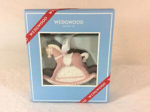 NIB-Wedgwood-034-My-First-Christmas-2017-034-Porcelain-Rocking-Horse-Ornament-Pink