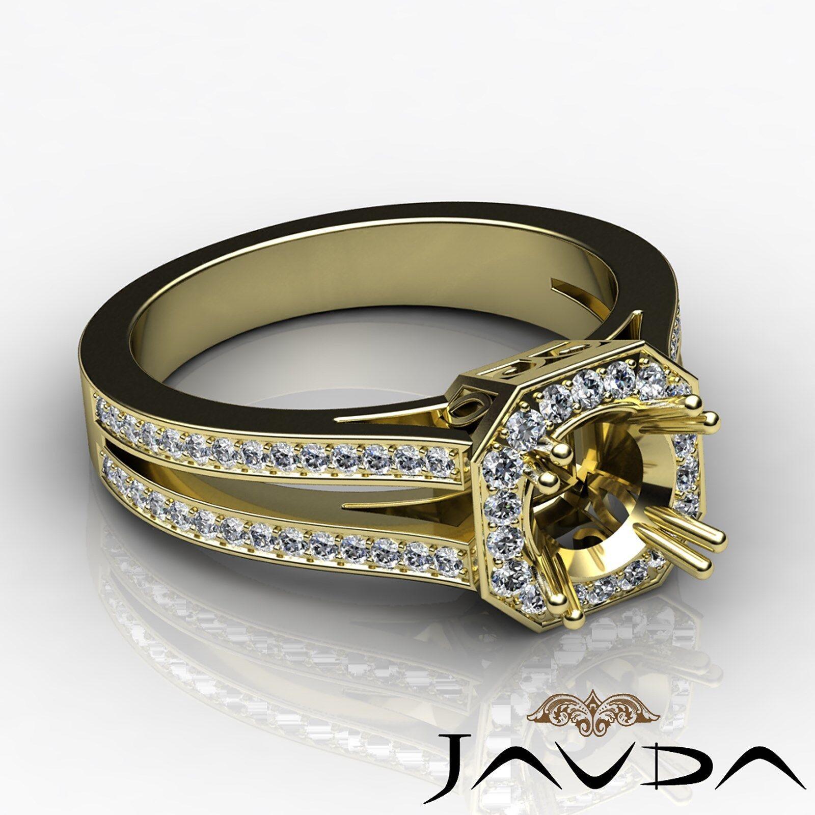 Halo Setting 0.96Ct Round Cut Diamond Engagement Ring 14k Yellow gold Semi Mount