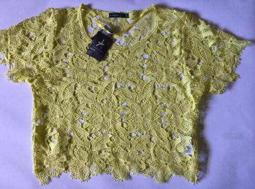 Ladies Lace Top in Bright Lemon Colour Sizes XS /& S