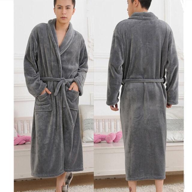 New Coral Fleece Long Night-robe Loose Sleepwear Shawl Collar Bathrobe Spa Women