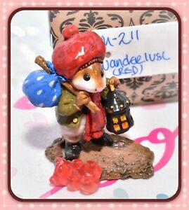❤️Wee Forest Folk M-211 Wanderlust RETIRED Red Hat Mouse Lantern WFF 1995❤️
