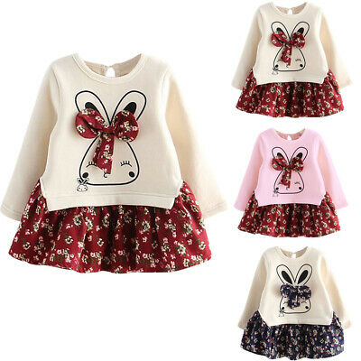 New Toddler Kids Baby Girl Cartoon Floral Princess Party Dresses Clothes Outfits