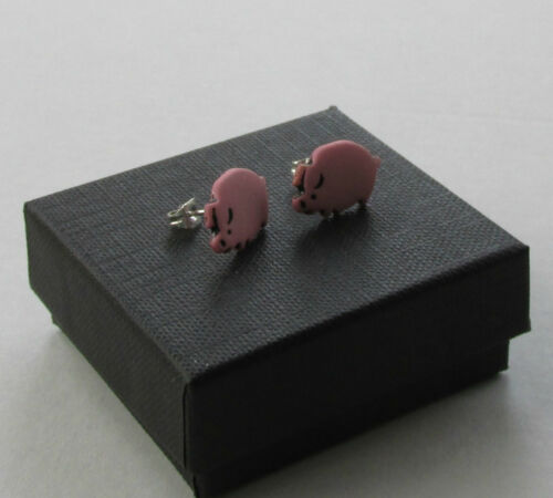 Hecho a mano lindo divertido Rosa Cerdo Piggy Oink Diseño Pendientes con Pasador de moda en Caja De Regalo