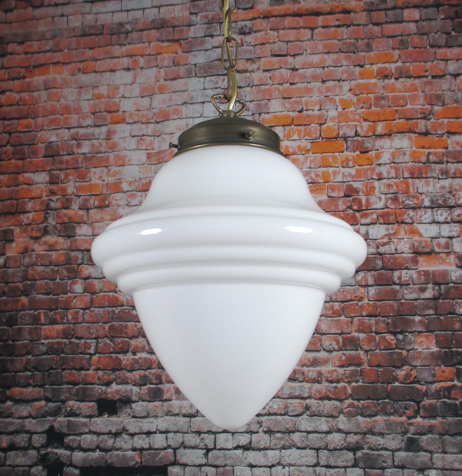 Hängelampe XXL Weiß Jugendstil Opal-Glas Tropfen Lampe Antik Messing Pendellampe