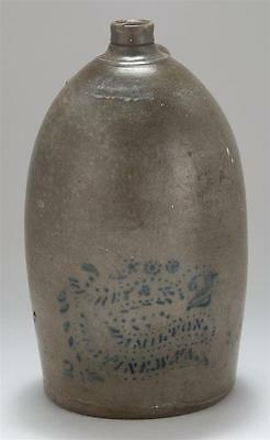 "TWO-GALLON STONEWARE JUG Marked ""Richey & Hamilton Palatine, W. VA"" ... Lot 1029"