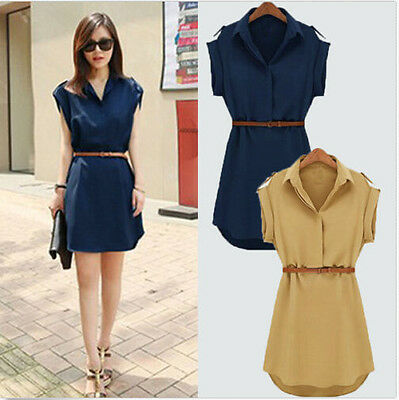 2016 Hot Fashion Women's Cap Sleeve Stretch Chiffon Casual OL Shirt Mini Dress