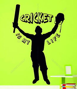 Batsman Icc Cricket Is My Life Quote Cricketer Decorative Vinyl Wall