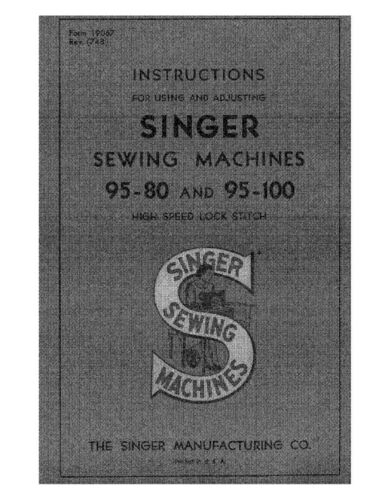 Singer 958095100 Sewing MachineEmbroiderySerger Owners Manual
