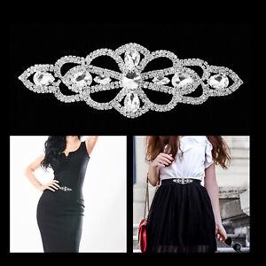 Rhinestone Diamante Silver Motif Crystal Sew On Applique for Bridal Dress Patch