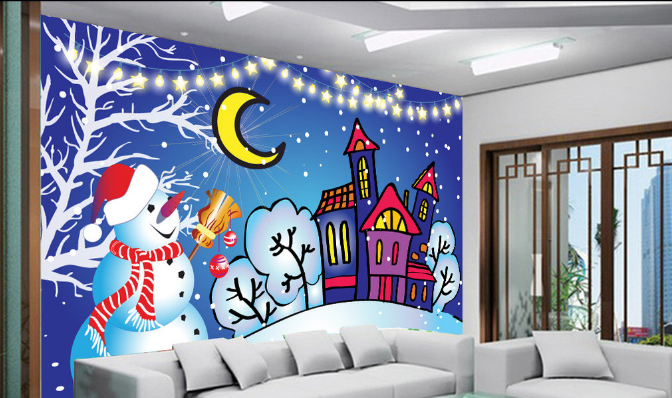 3D Snowman Moon House Paper Wall Print Wall Decal Wall Deco Indoor Murals