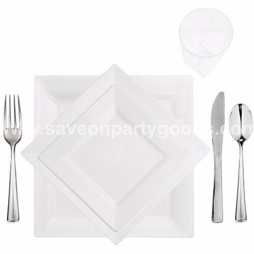 60 full table paramètres élégant jetables Blanc Plaques Carrées-Cups-Couverts