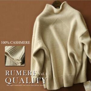 Women-Cashmere-blend-Sweater-Long-Sleeve-High-Necked-Coat-Tops-warm-Grace-Winter