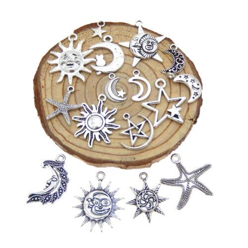 Paquete De 15 Vintage Aleación De Metal Plateado Sol Luna Estrella Colgantes Encantos Lotes mixtos