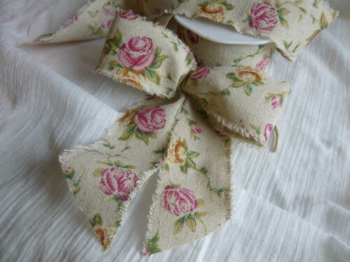 2metre Vintage Burlap Antique Rose print ribbon 50mm width REDUCED for CLEARANCE