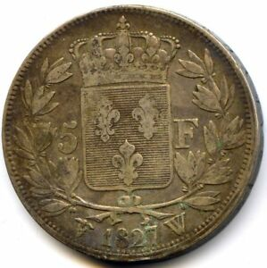 Charles X (1824-1830) 5 Francs 2e Type 1827 W Lille