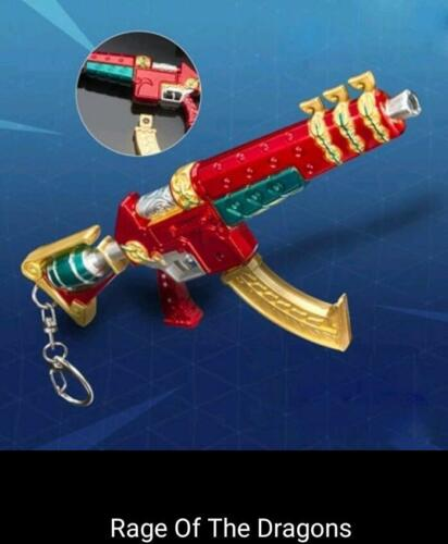 Fortnight Battle Royale Game Keychain Alloy SCAR Rifle Weapons Toy Kids Birthday