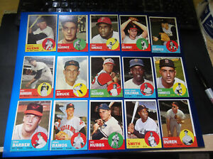 LOT OF (166) DIFFERENT 1963 TOPPS BASEBALL CARDS SERIES 1 SERIES 2 BV$700+
