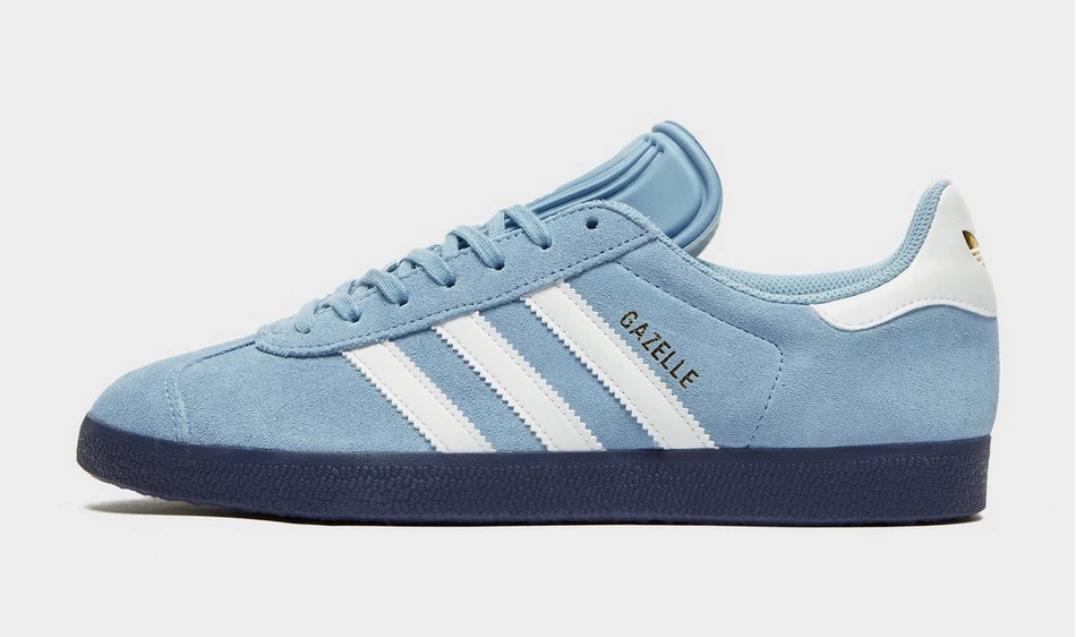 NEW IN Mens Adidas Originals Gazelle Trainers Sky Blau Navy Weiß Gold All Größes