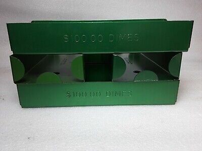1 Tray Dimes Rolled Coin Plastic Storage Tray Green