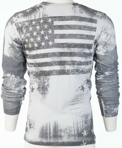 ARCHAIC by AFFLICTION Mens THERMAL Shirt RACER American Customs USA FLAG $58 b
