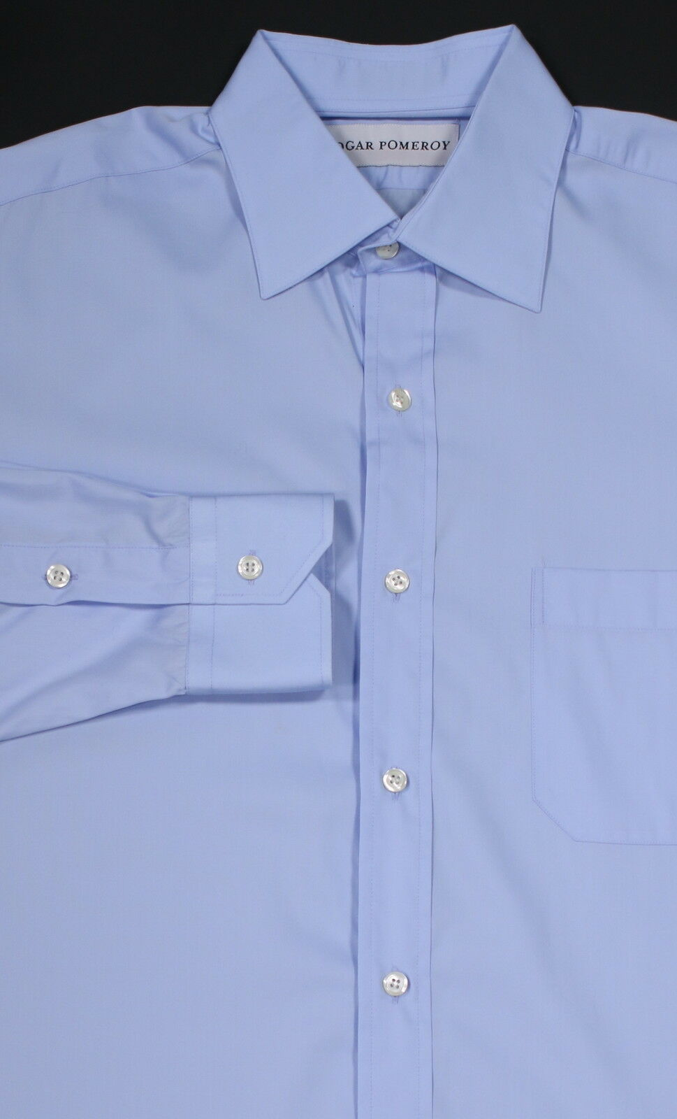 Neu  Edgar Pomeroy Light Blau Baumwolle Handgefertigt Anzugshemd 15.5-35