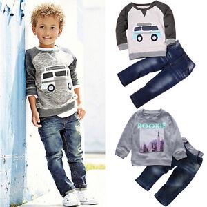 Child Kids Baby Boy Outfits Clothes T-shirt Tops+Long Jeans Denim Pants 2PCS/Set