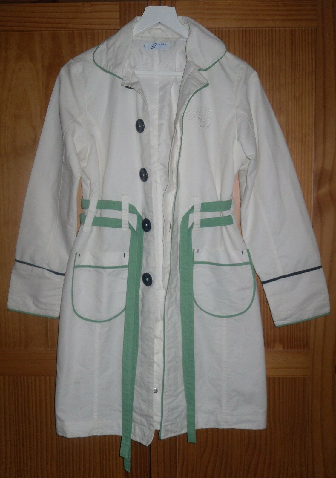 Vintage Ivory 'ADIDAS' Long Sleeve Cotton Coat Perfect Condition SIZE 10