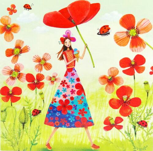 "Mila Marquis*Postkarte 14x14 Lack/""Frau mit Mohn-Blumen/"" Sommer Eis*Grußkarte*"